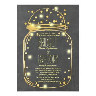 Gold Confetti Fireflies Mason Jar Engagement Party Card