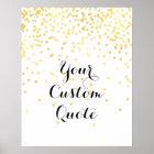 Gold confetti Personalised quote art print custom