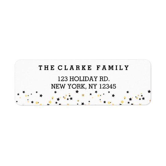 Gold Confetti Stars | Holiday Return Address Label