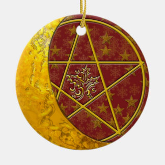 Gold Crescent Moon & Pentacle #6 Christmas Ornament