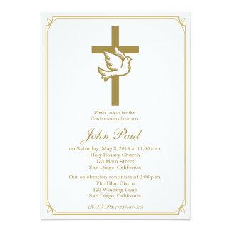 Gold Cross and Dove Confirmation Invitation
