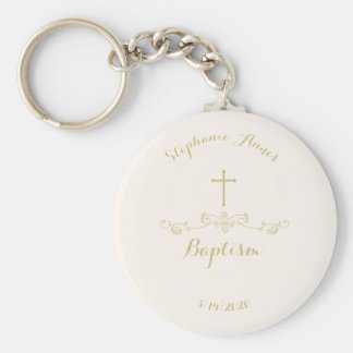 Gold Cross and Laurels Basic Round Button Key Ring