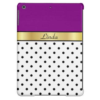 Gold Custom Name. Purple, White & Black Polka Dots iPad Air Case