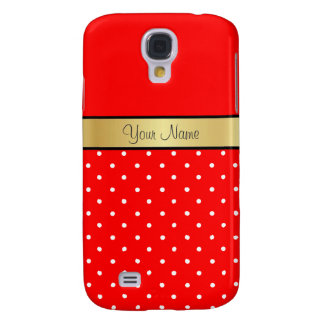 Gold Custom Name Strawberry Red White Polka Dots Galaxy S4 Case
