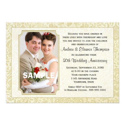 Gold Damask 50th Anniversary Photo Invitation