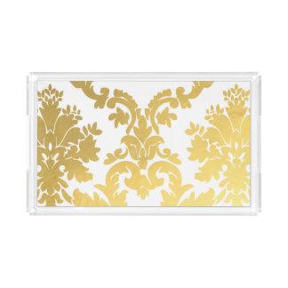 Gold Damask Acrylic Tray