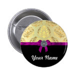 Gold damask & black personalised buttons