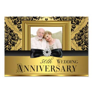 Gold Damask Bow Photo 50th Wedding Anniversary 3 Card