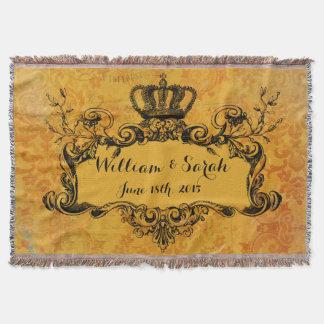 Gold Damask Custom Wedding Royal Crown Throw