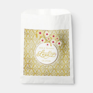 Gold Damask Endless Love Wedding Favor Bags Favour Bags