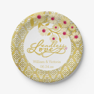Gold Damask Endless Love Wedding Paper Plates