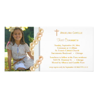 Gold Damask Pearls First Communion Photo Invite Picture Card