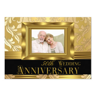 Gold Damask Photo 50th Wedding Anniversary Card