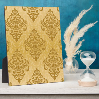Gold Damask Print Plaque