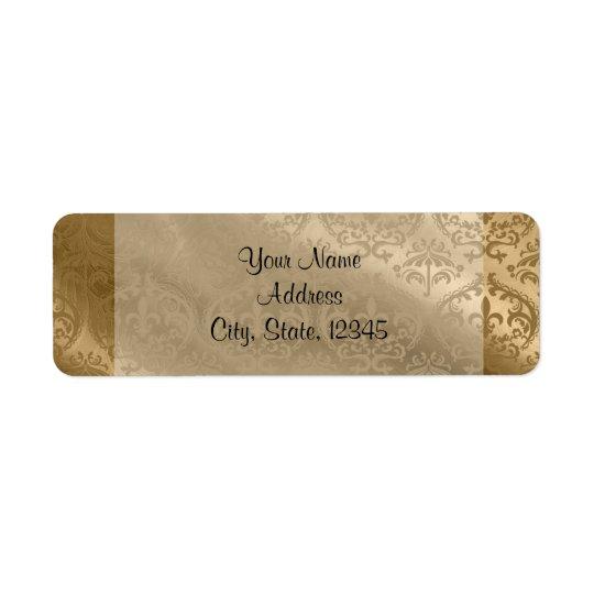 Gold Damask Silk Posh Wedding Label