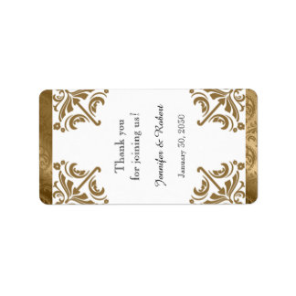 Gold Damask Silk Posh Wedding Lip Balm Label