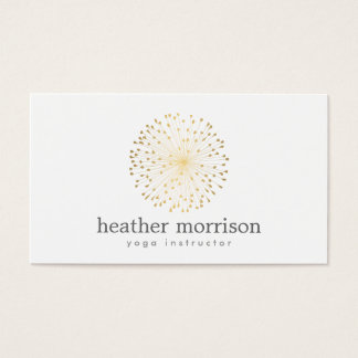 GOLD DANDELION STARBURST LOGO on WHITE Business Card