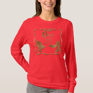 Gold Dec. 25 Bell Holly Christmas Ladies LS Shirt