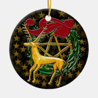 Gold Deer, Wreath, & Pentacle - Double-Sided #1 Christmas Ornament