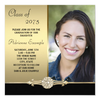 Gold Diamond Black and Gold Photo Graduation Card
