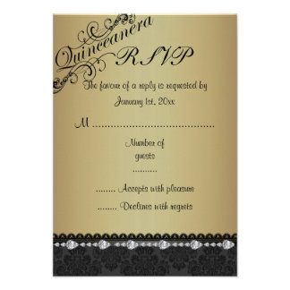 Gold Diamond & Damask Quinceanera RSVP Card Personalized Invitations