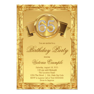 Gold Diamond Swirl Fancy 65th Birthday Invitation