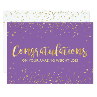 Gold Diet Slimming Weight Loss Congratulations 13 Cm X 18 Cm Invitation Card
