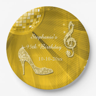 Gold Disco Ball and Heels 95th Birthday 9 Inch Paper Plate