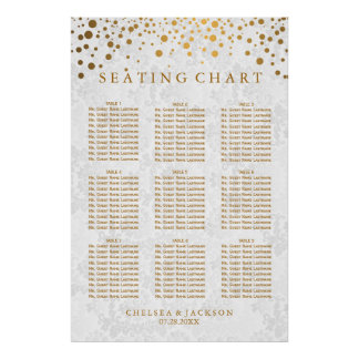Gold Dots on Texture Damask - 9 Seating Chart Poster