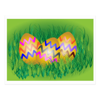 Gold eggs with zig-zag pattern on green grass postcard
