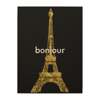 Gold Eiffel Tour Bonjour Wood Wall Art