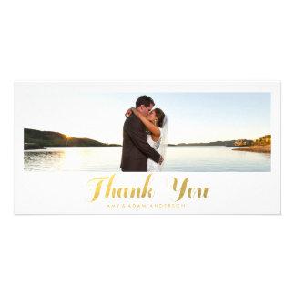 Gold Elegance   Wedding Thank You Photo Card