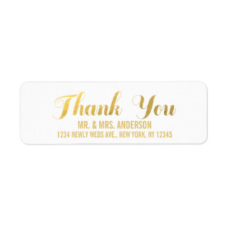 Gold Elegance Wedding Thank You Return Address Label