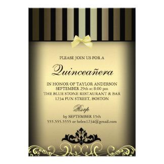 Gold Elegant Stripe Quinceañera Party Invite