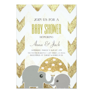 Gold Elephant Umbrella Baby Shower Party Invite