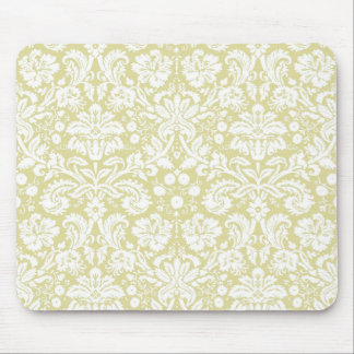 Gold fancy floral damask mouse pad