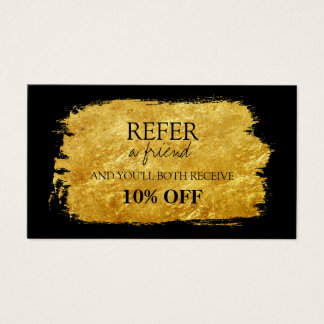 Gold Faux Foil Brush Referral Card