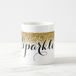 Gold Faux Glitter Sparkle Basic White Mug