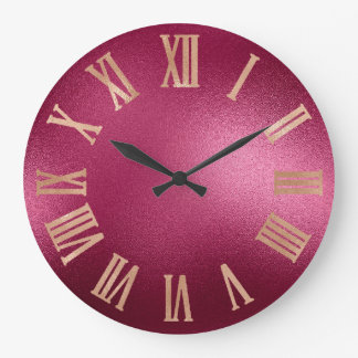 Gold Faux Rose Burgundy Metallic Roman Numers Large Clock