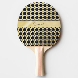 Gold Faux & Sparkly Black Glitter Spots Ping Pong Paddle