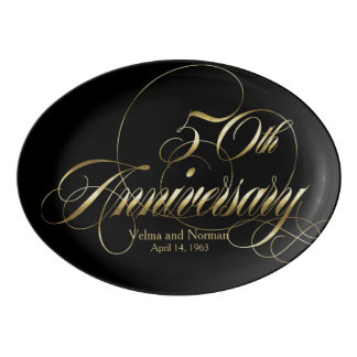 Gold Fiftieth Wedding Anniversary Personalized Porcelain Serving Platter