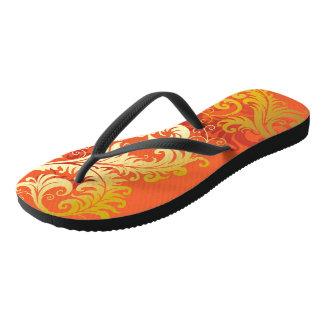 Gold Filigree on Bright Orange Flip Flops Thongs