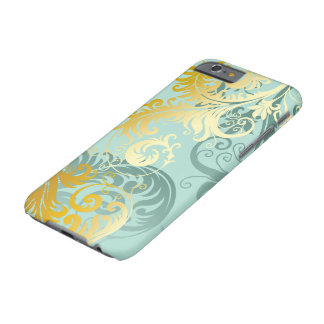 Gold Filigree on Sea Foam Green iPhone Case #1 Barely There iPhone 6 Case
