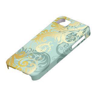 Gold Filigree on Sea Foam Green iPhone Case #1E iPhone 5 Case