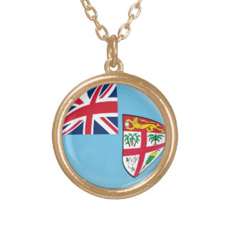 Gold finish Necklace Fiji flag