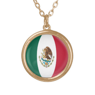 Gold finish Necklace Mexico Mexican flag