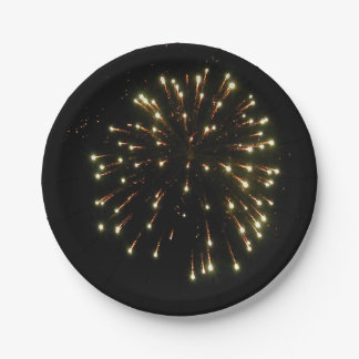 Gold Fireworks Burst Paper Plate