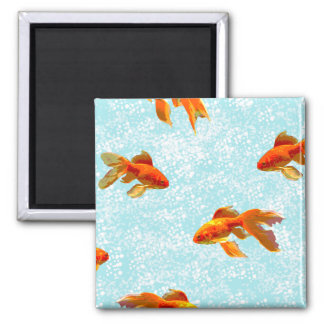 gold fish pattern square magnet