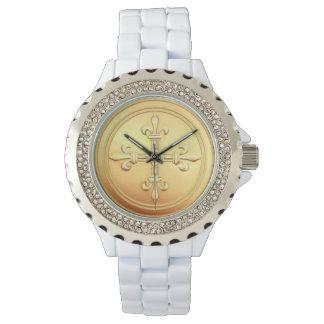 Gold Fleur de Lys Cross Rhinestone Enamel Watch