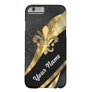 Gold fleur de lys on black barely there iPhone 6 case